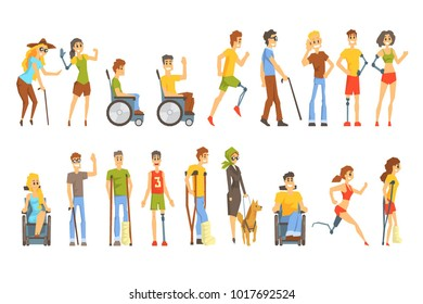 Young People With Permanent And Temporary Disabilities Overcoming The Injury Living Full Live Collection Of Vector Illustrations.