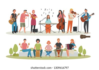 Young people playing various instruments and bus kings. Concept character set. flat design style minimal vector illustration