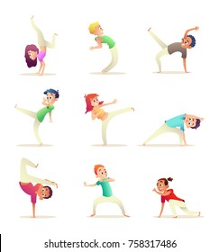 Young people practice capoeira movement. Kids doing different combat elements of martial arts. Cartoon design character. Character collection