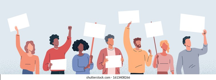 Young people protest flat vector illustration. Cartoon people with posters