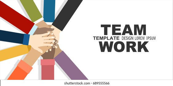 Young people putting their hands together. Friends with stack of hands showing unity and teamwork, top view. Vector flat illustration.