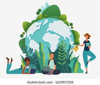 Young people reading books in the  park. World map and Summer landscape background. Vacation, Holidays time.  Back to school, Study, Learning, Knowledge and Education vector concept