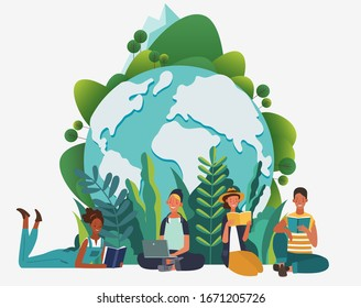 Young people reading books in the  park. Summer landscape background. Holidays time.  Back to school, Study, Learning, Knowledge and Education vector concept