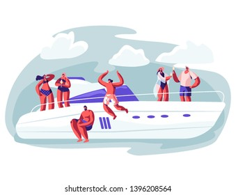 Young People Relaxing on Luxury Yacht at Ocean. Summertime Vacation, Happy Male and Female Characters Resting on Ship Jumping to Sea, Drinking Champagne, Sun Bathing. Cartoon Flat Vector Illustration