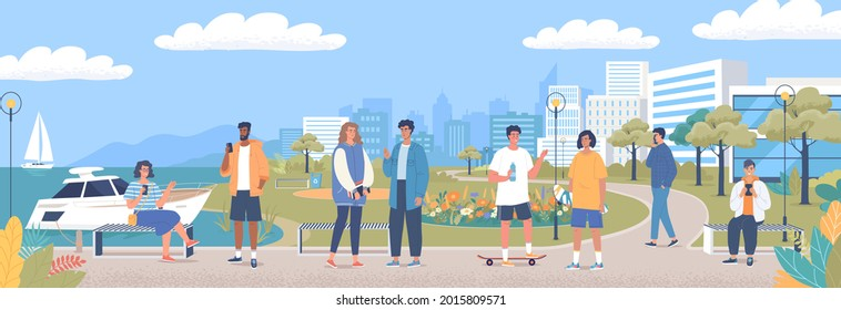 Young people rest and walk on the   promenade of seaside resort city. Colorful city park with trees, flowers flowerbed, benches, rest area and sea quay beach. Cartoon people characters illustration