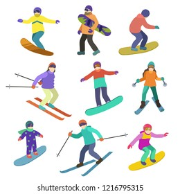 Young people ride downhill in winter sports snowboarding and skiing.