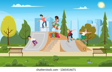 young people ride in the park on the rollerdrome. teenagers having fun in a city park skating on skateboards. vector illustration.
