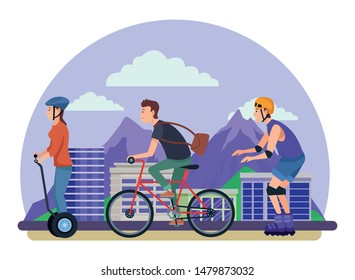 Young people riding with bike rolling skates and electric scooter in the city urban buildings scenery in the city urban scenery background ,vector illustration graphic design.
