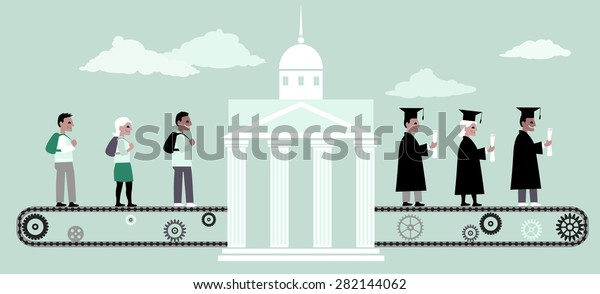 Young people riding a conveyor belt to the university building, from the other side people in graduation caps and capes coming out of it, vector illustration, no transparencies, EPS 8