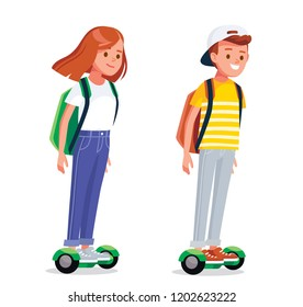 Young people riding hover board, gyro board, balance board. Kids on electric self balancing scooters.