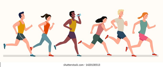 Young people running marathon. Vector flat style illustration