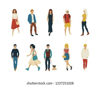 Young people set on white background vector. Fashion men and women cartoon style characters isolated.