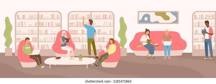 Young people sitting on comfy sofa and in armchairs studying and reading at public library. Flat cartoon men and women surrounded by shelves and racks with books. Modern colorful vector illustration.