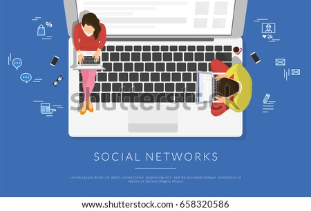 Young people sitting on the laptop and working with laptops in social networks for business project. Flat illustration top view of woman and man using laptop and typing on keyboard for blog or website