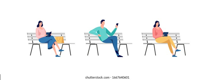 Young people sitting in the park on the bench. Rest and outdoor quiet time. Vector illustration.