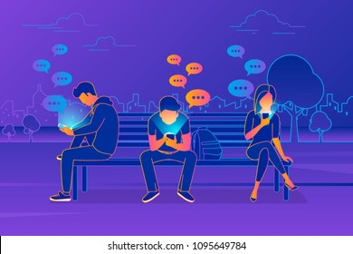 Young people sitting in the park and texting messages in chat using smartphone. Modern gradient line vector illustration of friends chat via mobile phone, sending message and texting via messenger app
