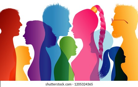 Young people smiling. Students smiling. Young people who are well together. Profiles of young colored silhouettes. Vector Multiple exposure