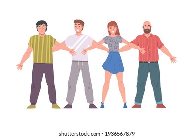 Young People Standing Together Hugging Each Other, Friendship, Solidarity, Cooperation Concept Cartoon Style Vector Illustration