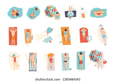 Young people sunbathing on the beach set, top view of lying men and women vector Illustrations on a white background
