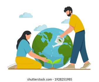 Young people take care the planet. Happy Earth Day. Concept of environmental protection and nature care. Design for greeting card, poster, web or print. Flat vector illustration.