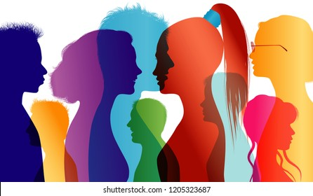 Young people talking. Students. Young people. Students talking. Colored silhouette profiles. Vector Multiple exposure