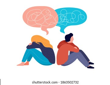 Young people, teenagers, couple of girl and boy, sitting back to back, sad and angry on each other. Breaking up, relationship issues, broken heart, separating concept. Vector illustration