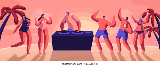 Young People, Teenagers Dancing and Drinking Cocktails on Seaside at Summer Time Beach Party with DJ Playing Modern Music at Sunset Tropical Landscape with Palms View. Cartoon Flat Vector Illustration