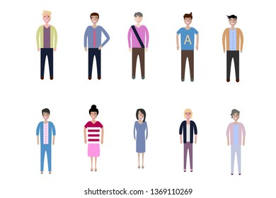 Young people, teenagers and students. Fashion man and woman in modern clothes. Different characters stay on white background.