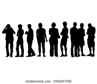 Young people in trendy street style clothes. Isolated silhouettes on white background