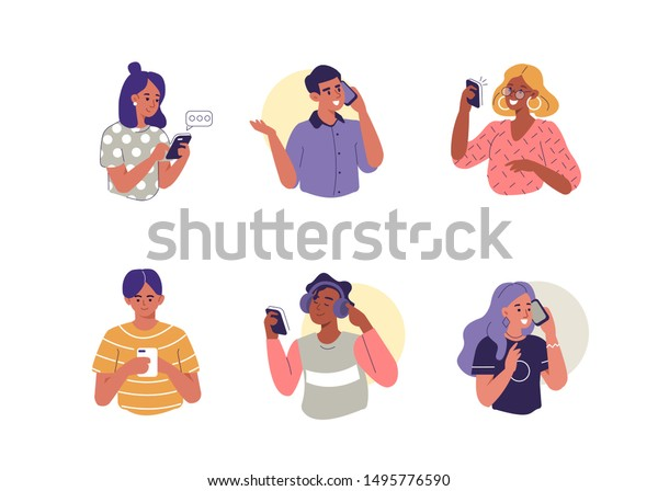 Young People use Smartphones, Chatting, making Selfie and listening Music. Happy Boys and Girls talking and typing on Phone. Female and Male Characters collection. Flat Cartoon Vector Illustration.