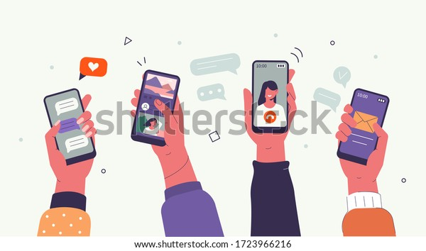 Young People use Smartphones and Surfing in Social Media. Boys and Girls Chatting, Watching Video, Liking Photos. Female and Male Characters Talking in Mobile App. Flat Cartoon Vector Illustration.
