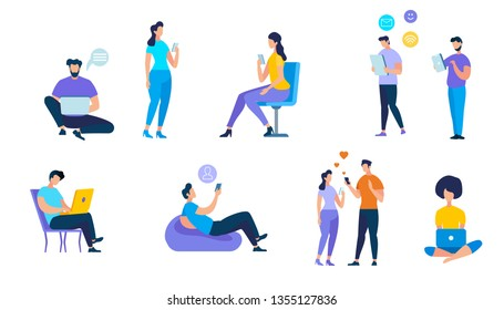 Young People Using Devices Such as Laptop, Smartphone, Tablets. Men and Women Addicted to Gadgets with Social Media Symbols Around. Internet and App Addiction. Cartoon Flat Vector Illustration.