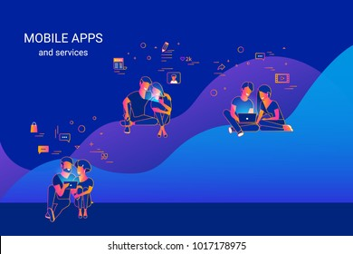 Young people using gadgets such as smartphone, tablet and laptop sitting on graphs and enjoying online services and networks. Gradient line vector illustration of data analytics mobile apps usage