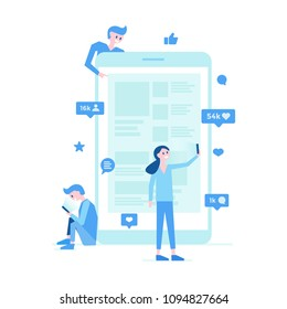Young people using mobile application with smartphone vector illustration. Boys and girl sitting standing taking selfie near modern gadget. Symbols of likes messages friends on device display