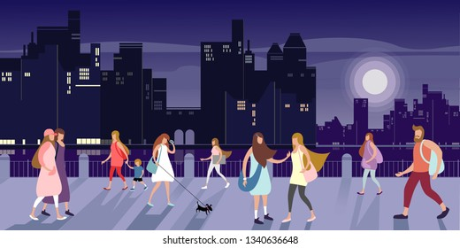 Young people walk along the city's embankment on a late summer evening. Vector illustration.