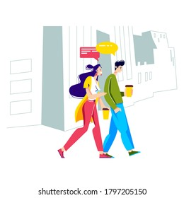 Young people walking, drinking coffee and talking. Friends, students or colleagues outdoors on coffee break walking the city communicating hold take away cups. Cartoon vector illustration