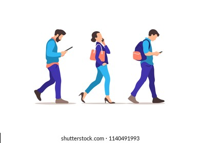 Young people walking. Humans strolling with smartphones, addicted to social networks and digital devices. Vector illustration.
