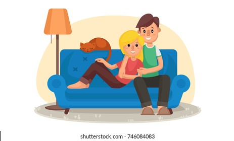 Young People Watching TV Vector. Drink Coffee, Relax At Home On Couch. Remote Control For TV Movie. Isolated On White Cartoon Character Illustration