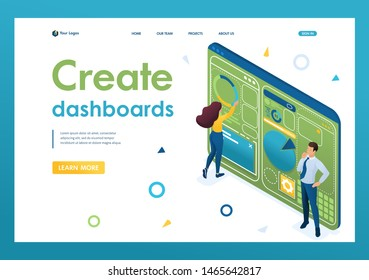Young people are working on creating a dashboard with an individual menu. Design concept. 3d isometric. Landing page concepts and web design