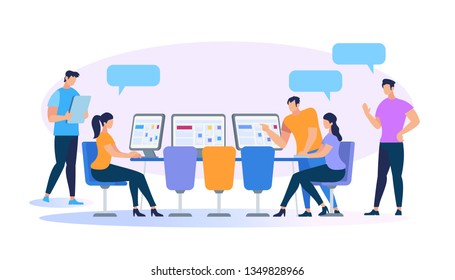 Young People Working Together Using Computers and Gadgets Isolated on White Background. Men and Women Coworking, Education, Creative Team Work. Brainstorming Meeting Cartoon Flat Vector Illustration
