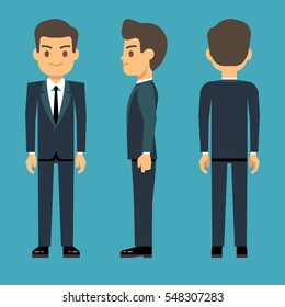 Young person man in three points of view in business, office clothes vector set.