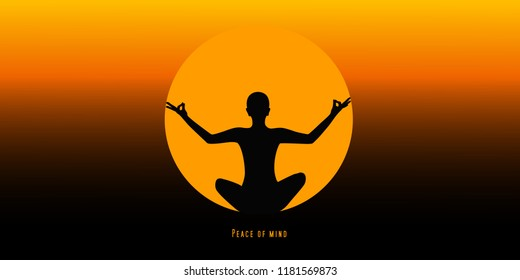 young person sitting in yoga meditation lotus position silhouette at sunset vector illustration EPS10
