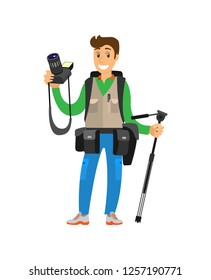 Young photographer with photo equipment. Man holding digital camera and tripod, cases for lenses on belt, heavy backpack vector illustration isolated.