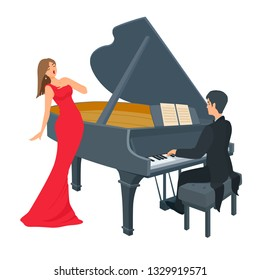 Young pianist sitting in black attire, hand over the keys. Beautiful woman stands with eyes closed. Red color long evening attire. Vector cartoon flat style illustration isolated on white background.