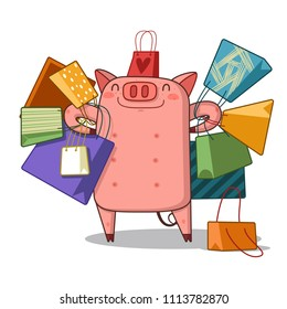 Young piggy with shopping packages isolated on white