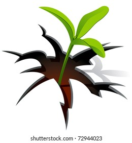 Young Plant Break Through White Background. Vector Illustration