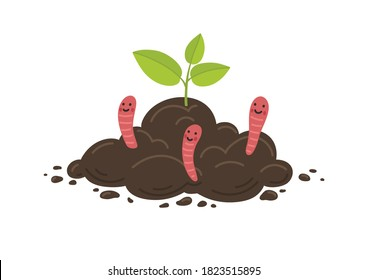 Young plant growth from soil with red worms. Farming and agriculture illustration.