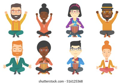 Young pleased man with eyes closed playing ethnic drum. Mucisian playing ethnic drum. Mucisian playing ethnic music on tom-tom. Set of vector flat design illustrations isolated on white background.