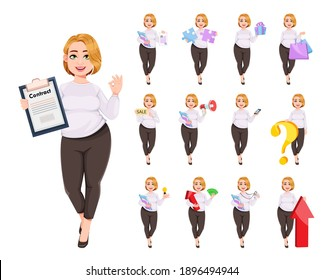 Young plus size pretty woman. Beautiful overweight businesswoman, set of thirteen poses. Stock vector illustration