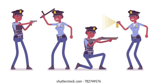 Young policewoman, female member of a police force at attack and defense. Making arrests with equipment and gear, doing risky job. Vector flat style cartoon illustration on white background
